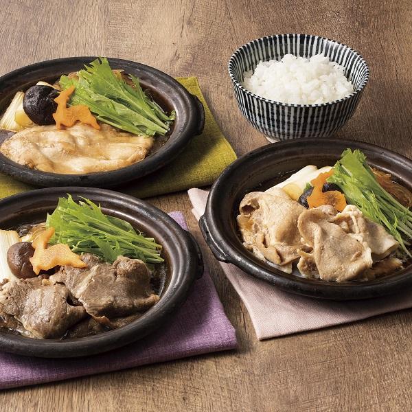 【レトルト商品】牛・豚・鶏すき焼き3種6食セット