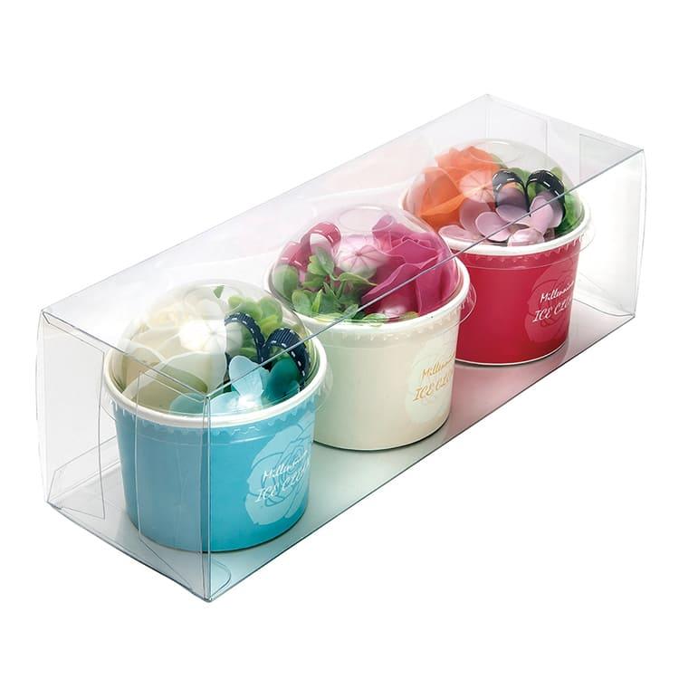 アイスカップ3色セット クリーム/ピンク/オレンジ
