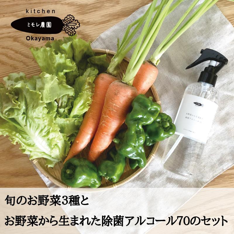 旬のお野菜おまかせ3種と、お野菜から生まれた除菌アルコール70 本体300mlのセット