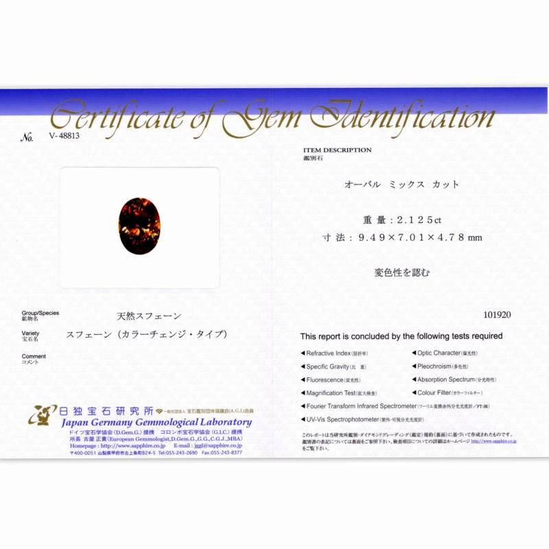 天然スフェーン 2.12ct 【見事なレッドファイア】極輝 カラーチェンジ 日独ミニ鑑別付