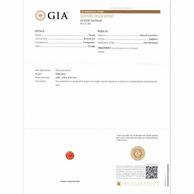 天然サファイア 0.58ct 【オレンジ】 モンタナ GIA産地鑑別書付