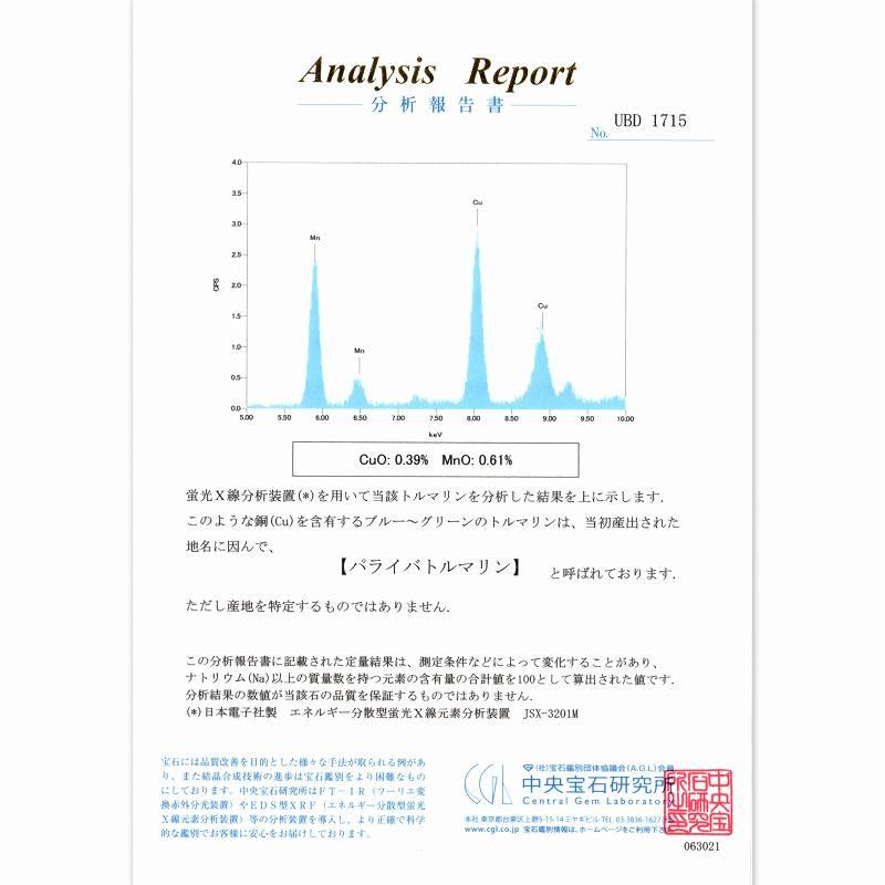 天然パライバトルマリン 2.19ct 【極上透明感】 モザンビーク 中宝鑑別付