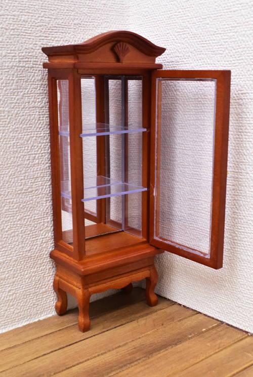 ミニチュア家具 ディスプレイタワー 背面鏡入り ウォールナット [SADF76001] [m-s]【 ネコポス不可 】