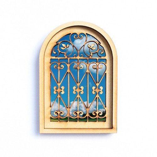 猫のミニチュア 窓(2) 書斎キット 1/12スケール ドールハウス [m-s]【ネコポス配送対応】【C】