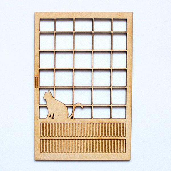 猫のミニチュア 障子(1) おすわり 1/12スケール 完成品 ドールハウス [m-s]【ネコポス配送対応】【C】
