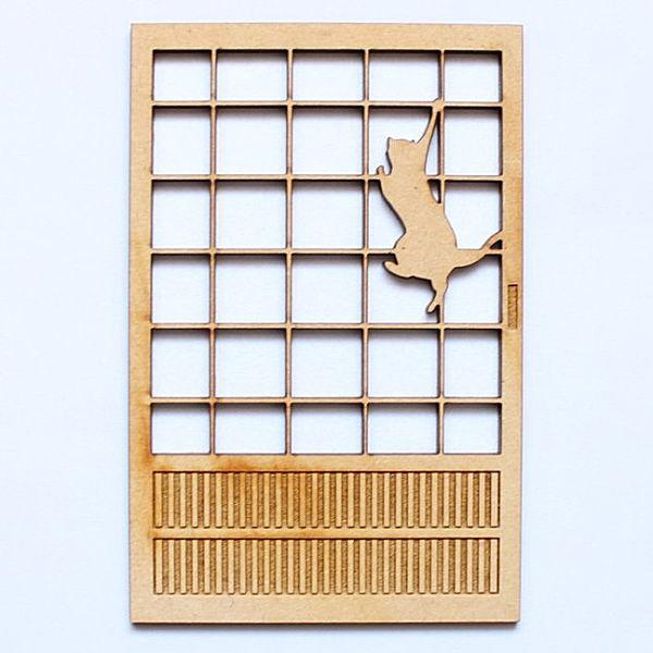猫のミニチュア 障子(2) 飛びつき 1/12スケール 完成品 ドールハウス [m-s]【ネコポス配送対応】【C】