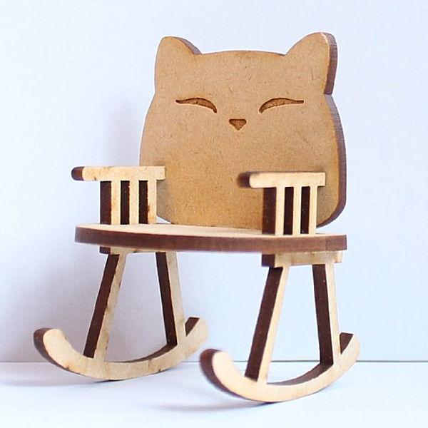 猫のミニチュア 揺りイス 1/12スケール 完成品 ドールハウス [m-s]【 ネコポス不可 】【C】