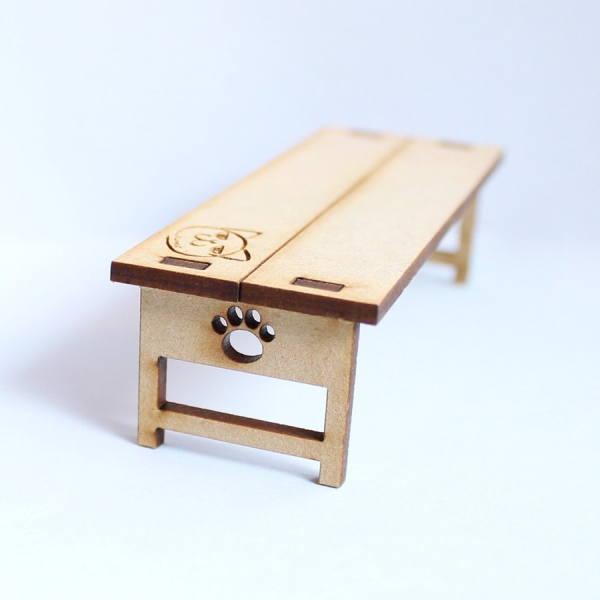猫のミニチュア にゃんベンチ 1/12スケール 完成品 ドールハウス [m-s]【 ネコポス不可 】【C】