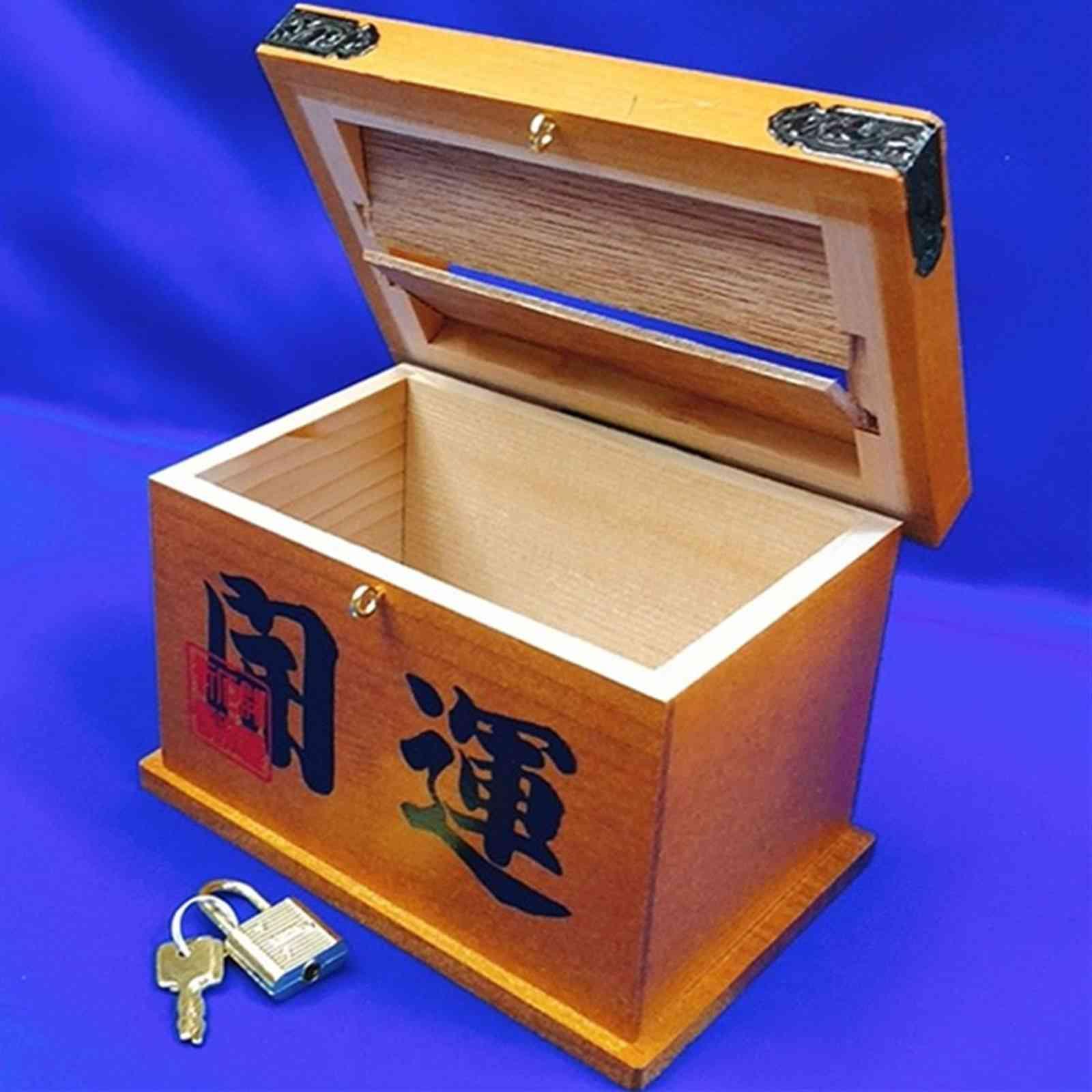 開運グッズ・飾り物 鍵付き賽銭箱 木製 H9.5cm [浅草 お土産]