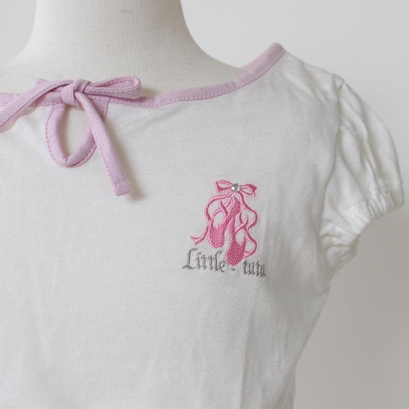 リボン パフスリーブ 半袖Tシャツ/子ども・ジュニア用/トゥシューズ刺繍