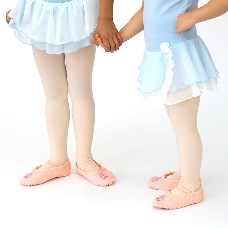 子ども用トゥシューズリボン柄刺繍入りバレエシューズ/16.5〜22.0cm