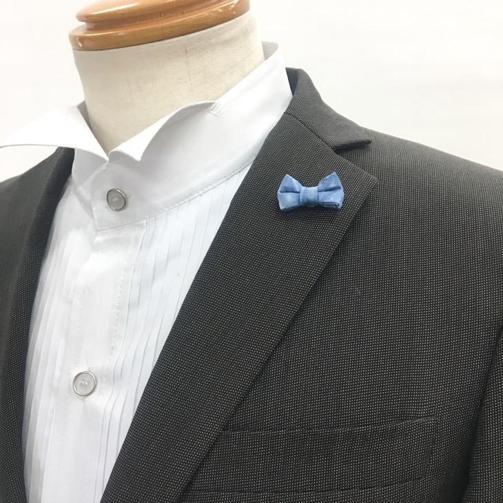 ★ラペルピン ピンズ 蝶ネクタイ型 スクエア コットン藍染め MISAKO 【日本製】