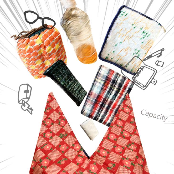 あづま袋 エコバッグ 巾着 東袋 風呂敷バッグ 折りたたみ 携帯 【日本製】 コットン 椿柄 MISAKO