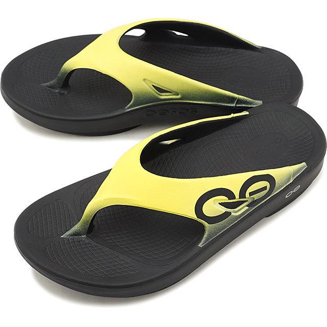 【送料無料】【1年保証】ウーフォス OOFOS ウーオリジナル スポーツ Ooriginal Sport メンズ・レディース ランニング リカバリーサンダル 靴 Black/ Yellow イエロー系 [5020030 SS19]