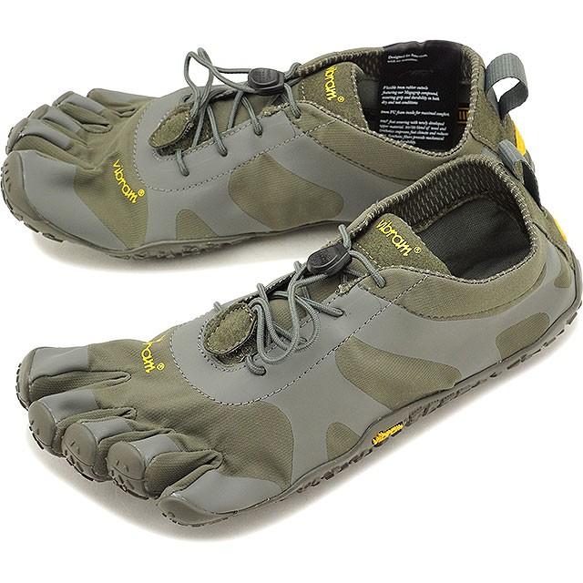 【送料無料】ビブラムファイブフィンガーズ メンズ Vibram FiveFingers オールラウンド アウトドア 5本指シューズ V-ALPHA ベアフット 靴 Military/Dark Grey [18M7103 SS18]