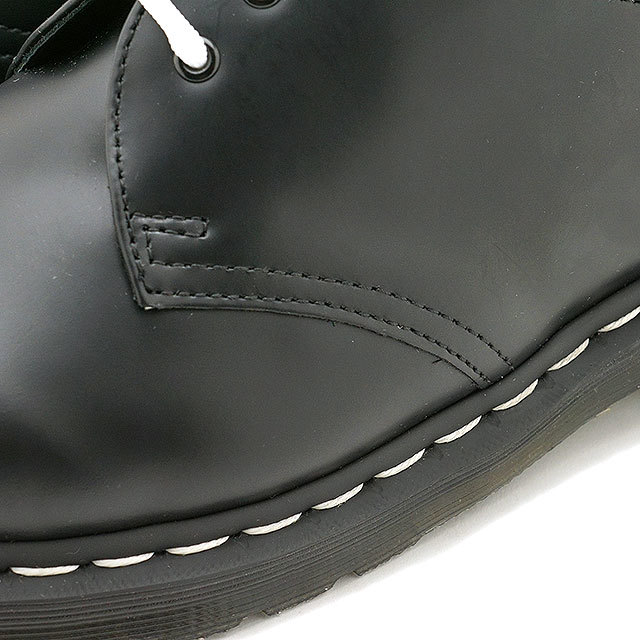 【送料無料】ドクターマーチン Dr.Martens 3ホールシューズ ホワイトステッチ ブラックスムース 1461Z WHITE STITCH BLACK SMOOTH メンズ・レディース ブラック系 [24757001]
