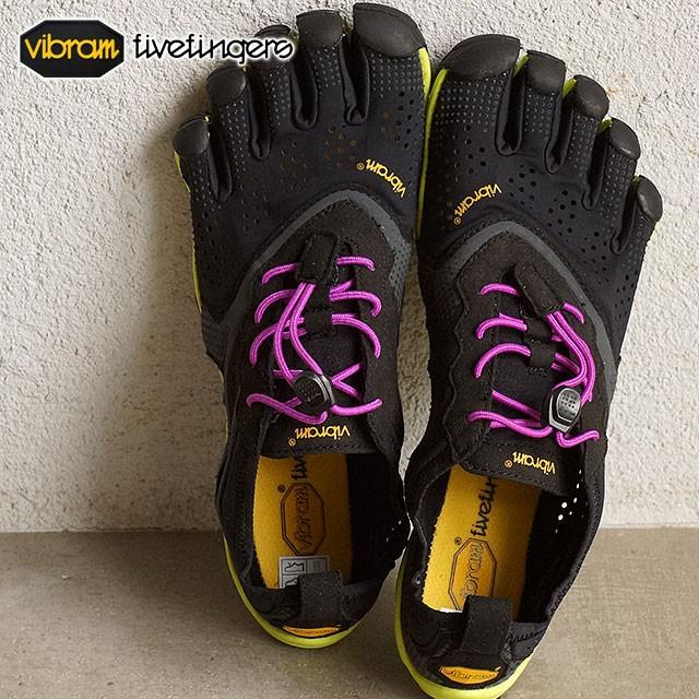 【送料無料】Vibram FiveFingers ビブラムファイブフィンガーズ レディース V-Run Black/Yellow/Purple ビブラム ファイブフィンガーズ 5本指シューズ ベアフット ウィメンズ 靴 [16W3105]