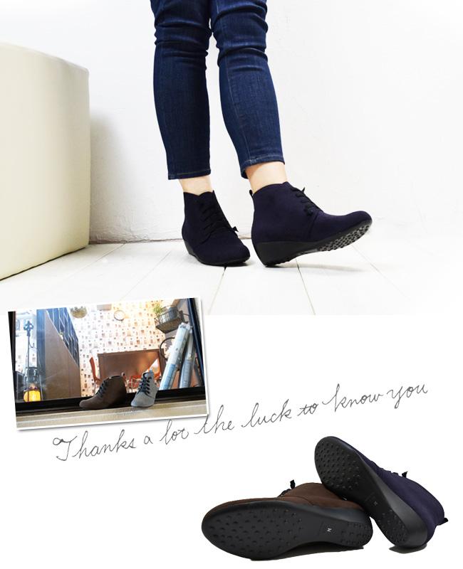 【Feeling of Yui】3E幅広+快適な履き心地ほどけない紐がGOOD!合わせやすいオシャレブーツ♪足を包み込む立体ソール。【日本製】[FOO-MI-11482]H4.0