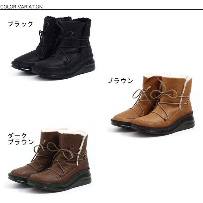 本革 日本製 コンフォート ブーツ 【送料無料】【In Cholje(インコルジェ)】思いっきり履きやすい!フェイクファーで、もこふわ編み上げショートブーツ [FOO-SP-8744]H5.0