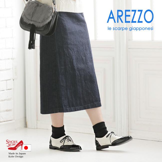 メダリオン ウィングチップ【AREZZO(アレッツォ)】決まるマニッシュスタイル!カジュアルで足元カッコいいスタイル!メダリオンウィングチップ・オックスフォードシューズ♪[日本製][FOO-AR-7670]