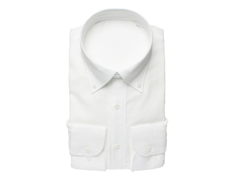 【hadae】 今治タオル認定済 プレミアムパイル メンズ ワイシャツ 長袖 ホワイト ボタンダウン