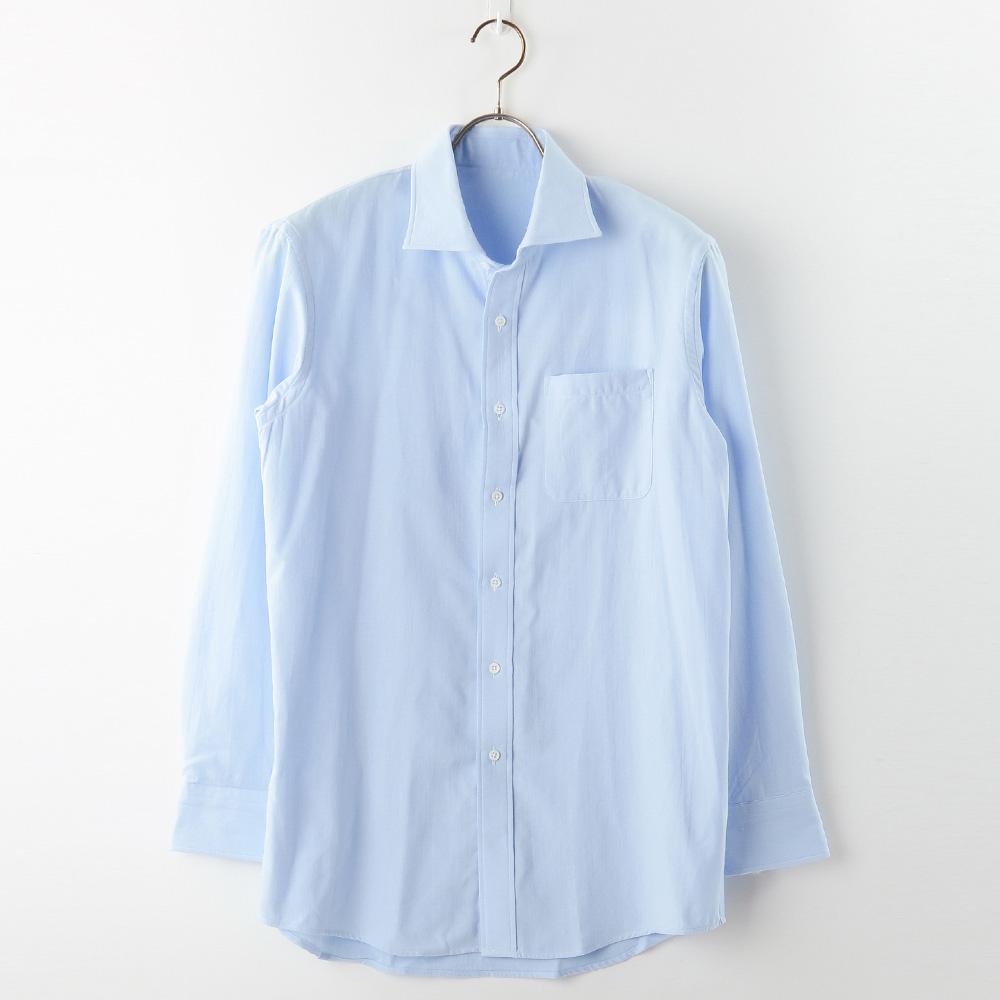 【hadae】 今治タオル認定済 プレミアムパイル メンズ ワイシャツ 長袖 サックス セミワイド