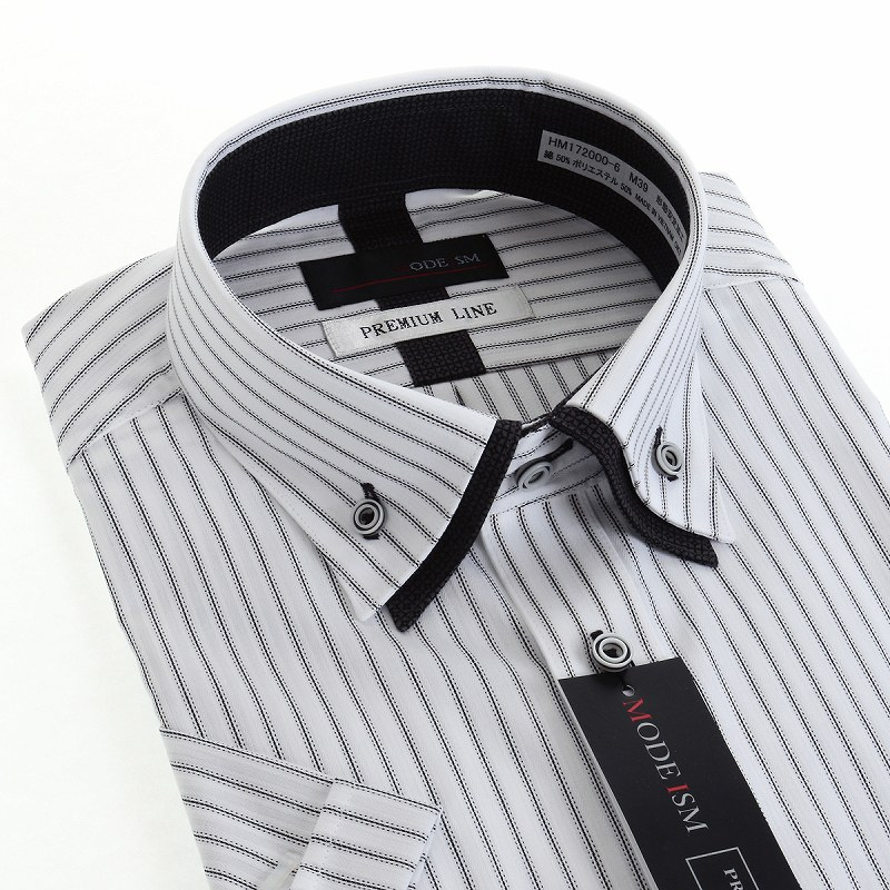 形態安定 ショート2枚衿ボタンダウン ワイシャツ 半袖 【MODE ISM PREMIUM LINE】