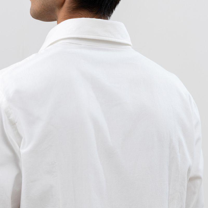 【hadae】 今治タオル認定済 プレミアムパイル メンズ カジュアルシャツ 長袖 ホワイト カッタウェイ
