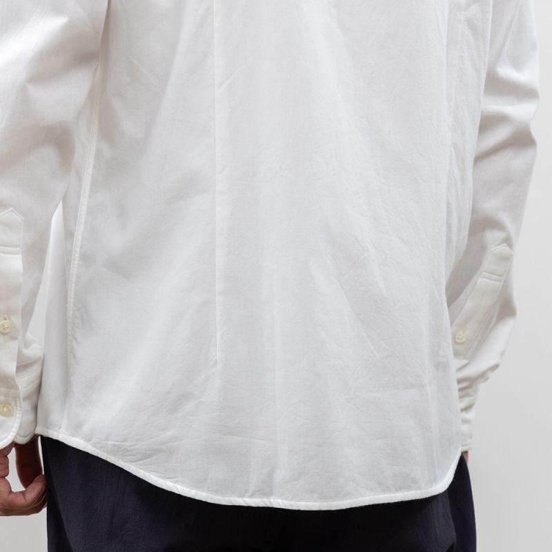 【hadae】 今治タオル素材 メンズ カジュアルシャツ 長袖 ホワイト カッタウェイ C79400MH-1