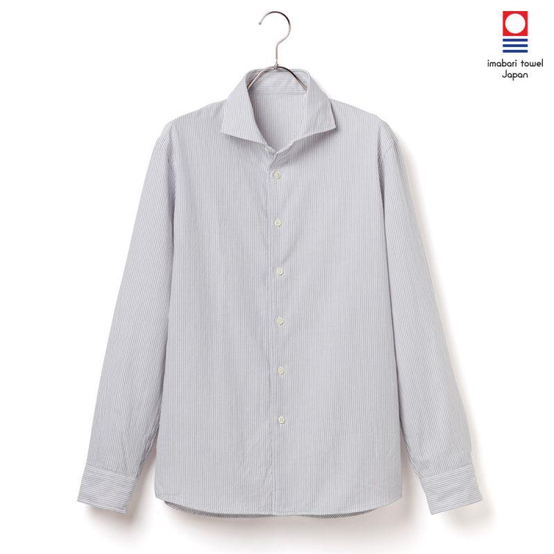 【hadae】 今治タオル素材 メンズ カジュアルシャツ 長袖 グレーストライプ カッタウェイ