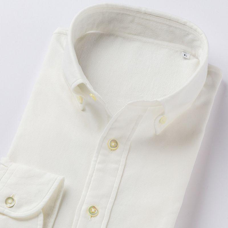 【hadae】 今治タオル認定済 プレミアムパイル メンズ カジュアルシャツ 長袖 ホワイト ボタンダウン