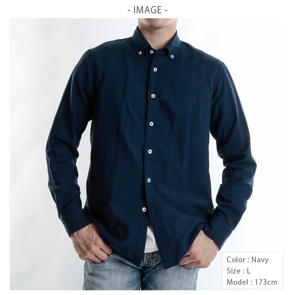 【hadae】 今治タオル素材 メンズ カジュアルシャツ 長袖 ネイビー ボタンダウン C79600MH-3