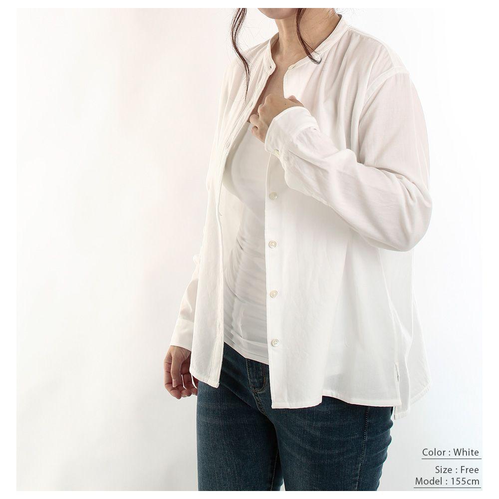 【hadae】 今治タオル認定済 プレミアムパイル レディース カジュアルシャツ 長袖 ホワイト バンドカラー