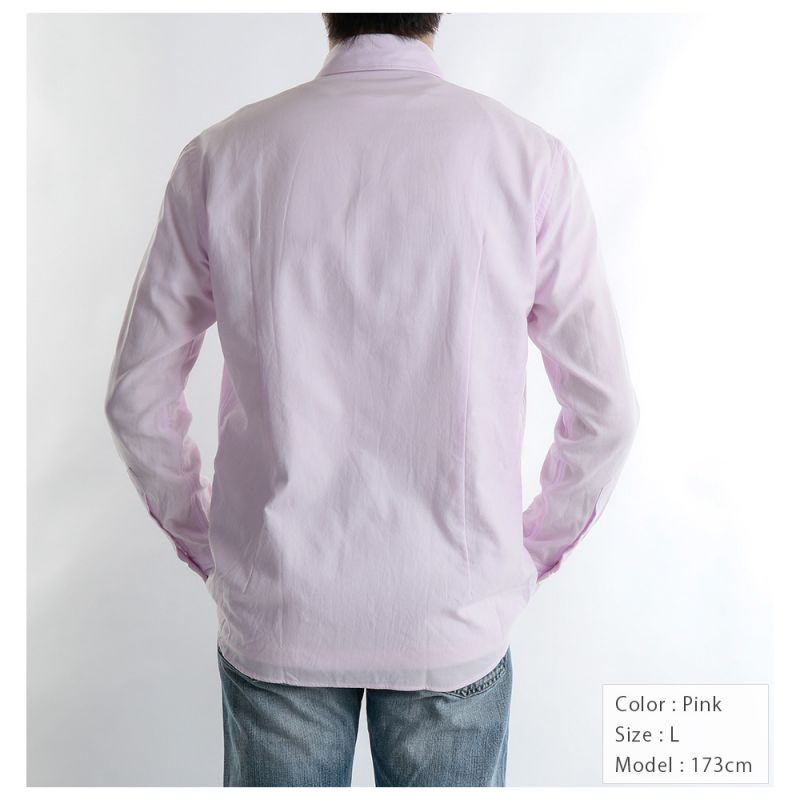 【hadae】 今治タオル認定済 プレミアムパイル メンズ カジュアルシャツ 長袖 ピンク カッタウェイ