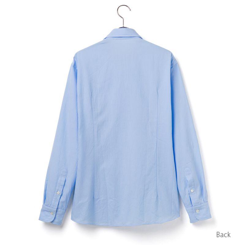 【hadae】 今治タオル認定済 プレミアムパイル メンズ カジュアルシャツ 長袖 サックス ボタンダウン