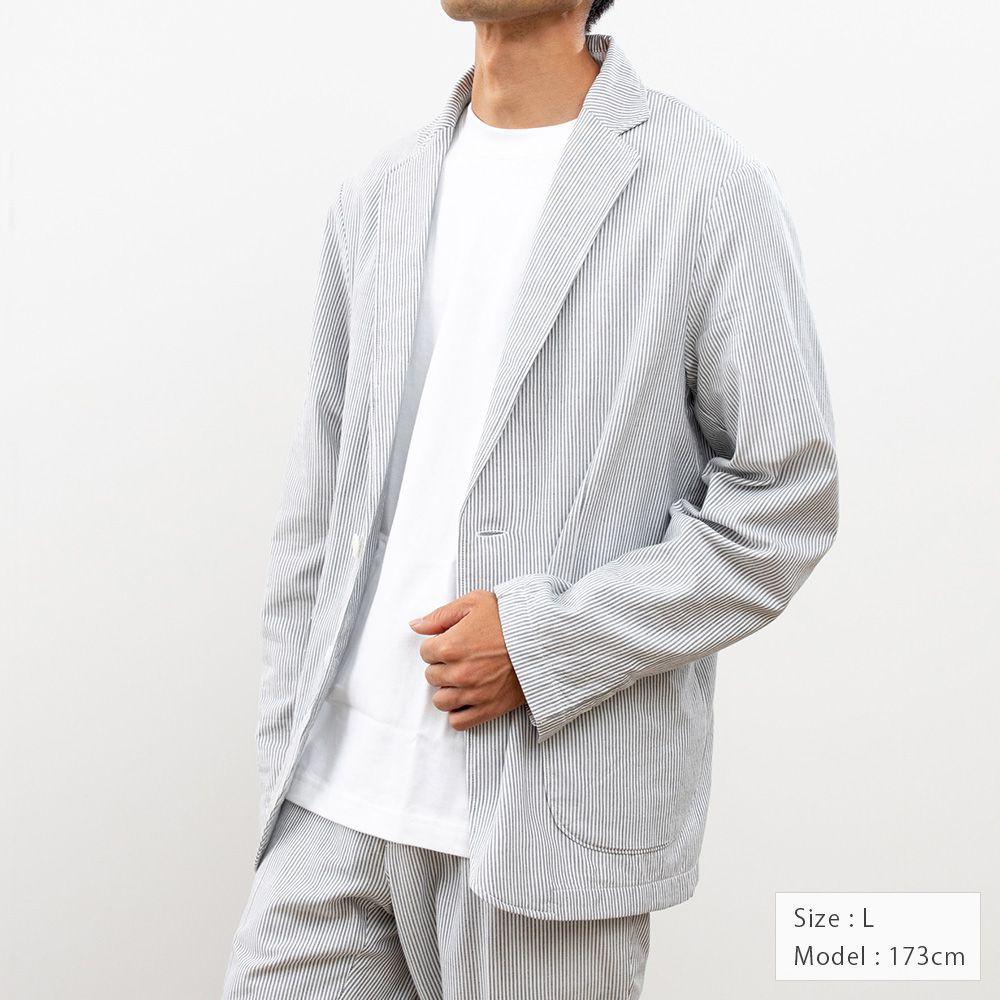 【hadae】 今治タオル素材 メンズ ジャケット 長袖 ネイビーストライプ X81002MH-3