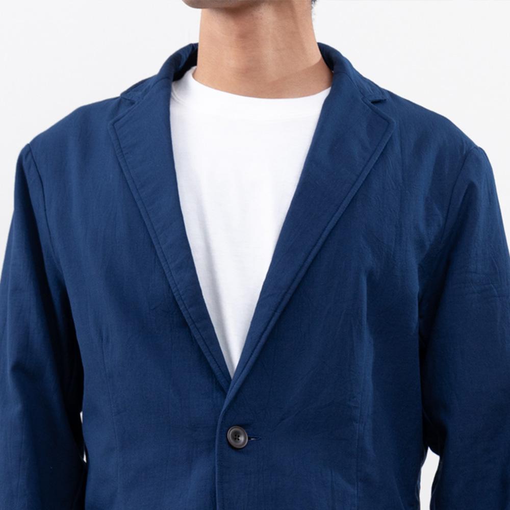 【hadae】 今治タオル素材 メンズ ジャケット ネイビー X81002MH-1
