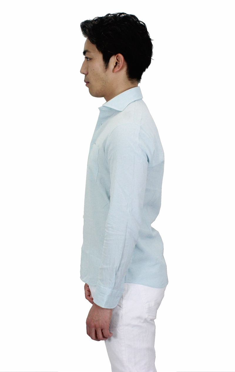 【hadae】 和紙素材 メンズ 超軽涼 カジュアルシャツ 長袖 マリンブルー カッタウェイ キュアテックスヤーン C82400MH-3