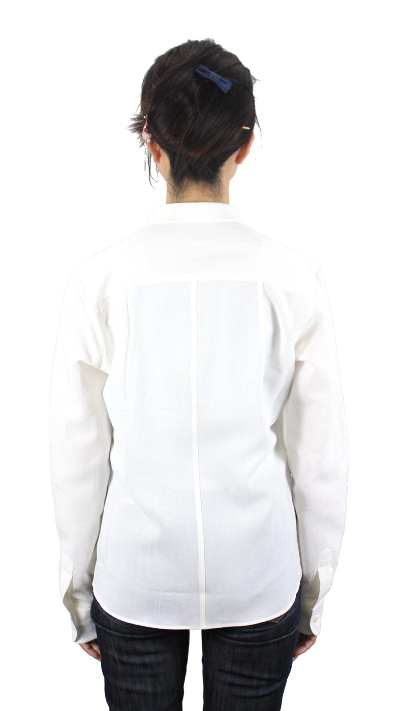 【hadae】 和紙素材 レディース 超軽涼 カジュアルシャツ 長袖 ホワイト ダブルポケット キュアテックスヤーン L82100MH-1