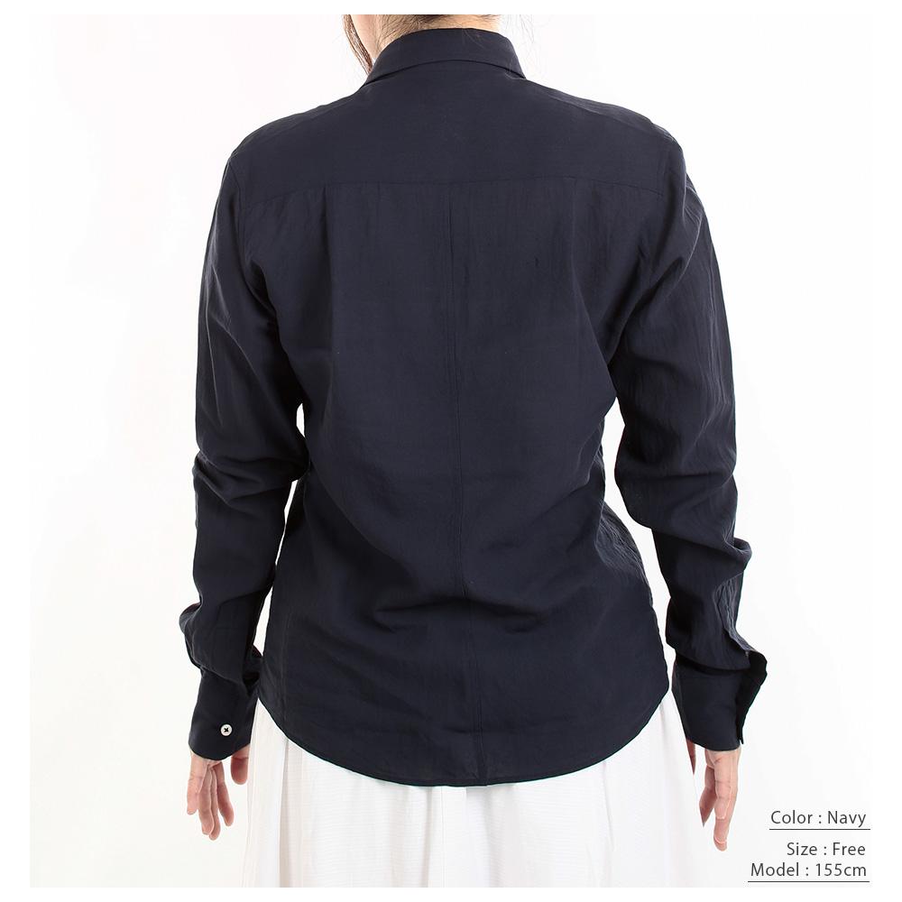 【hadae】 和紙素材 レディース 超軽涼 カジュアルシャツ 長袖 ピンク ダブルポケット キュアテックスヤーン L82100MH-3