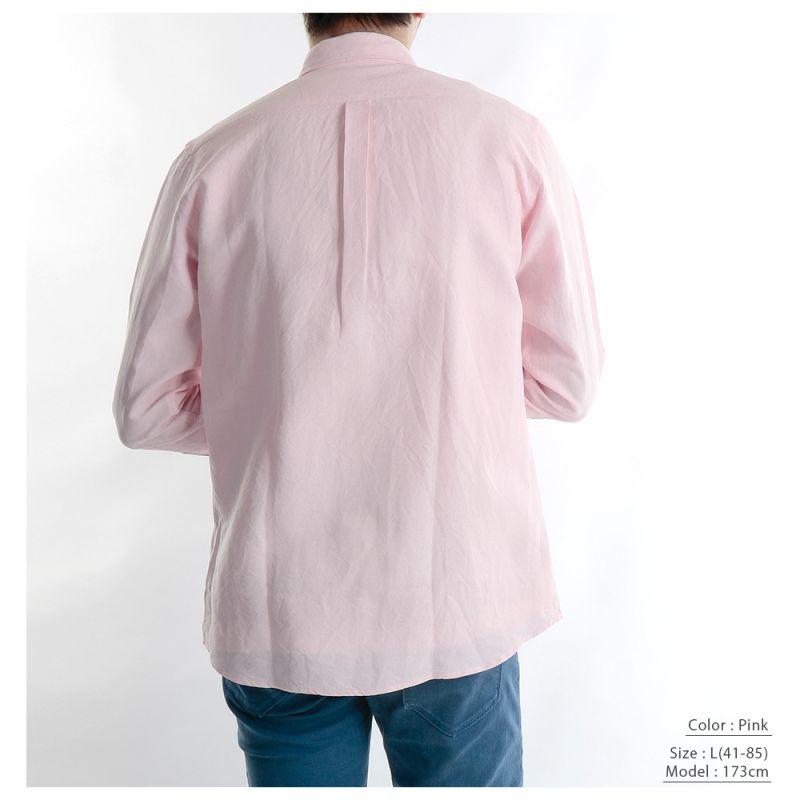 【hadae】 和紙素材 オックス メンズ カジュアルシャツ 長袖 サックス ヘビーオックス ボタンダウン 軽量 キュアテックスヤーン C89600MH-2