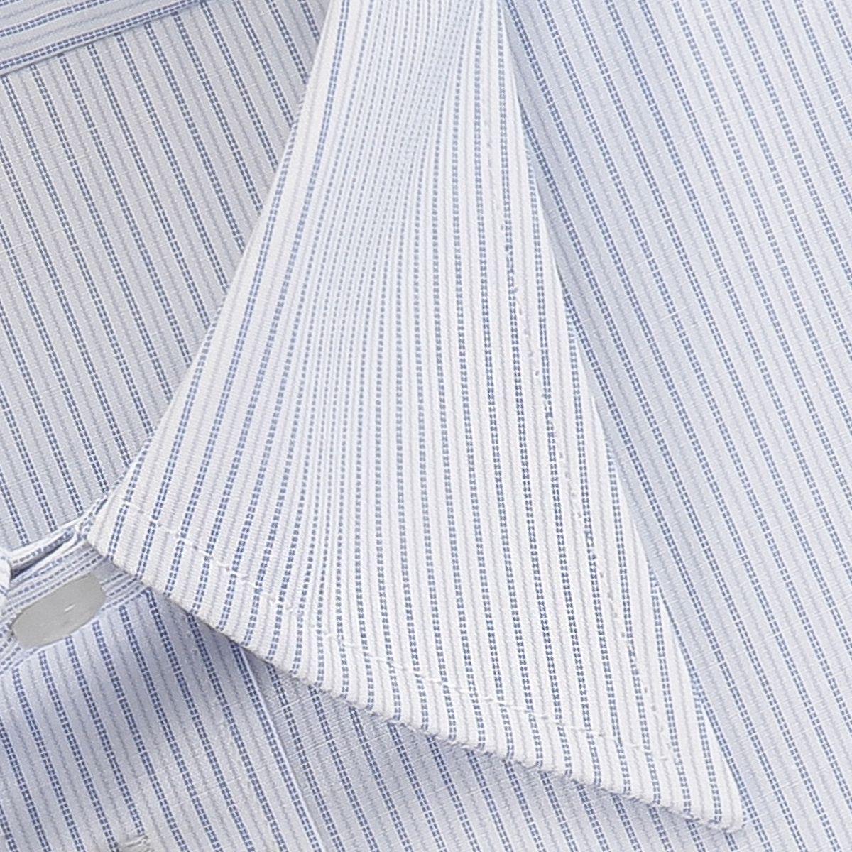 【LADE ASTON】 ポリエステル65% 綿35% 形態安定 レギュラーカラー ブルーストライプ・平織り 長袖 KL203100-1