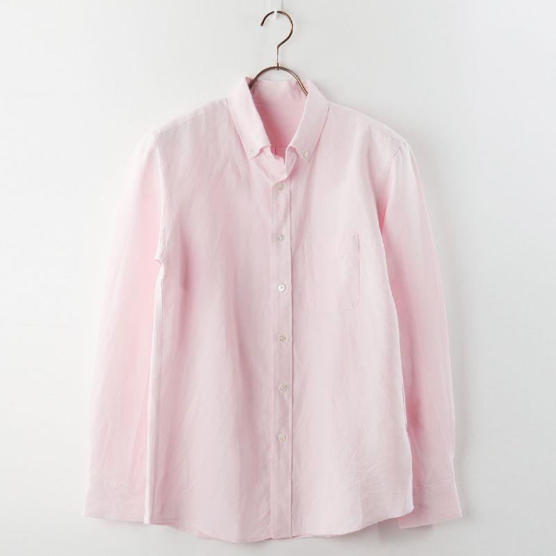 【hadae】 和紙素材 オックス メンズ カジュアルシャツ 長袖 ピンク ヘビーオックス ボタンダウン 軽量 キュアテックスヤーン C89600MH-4