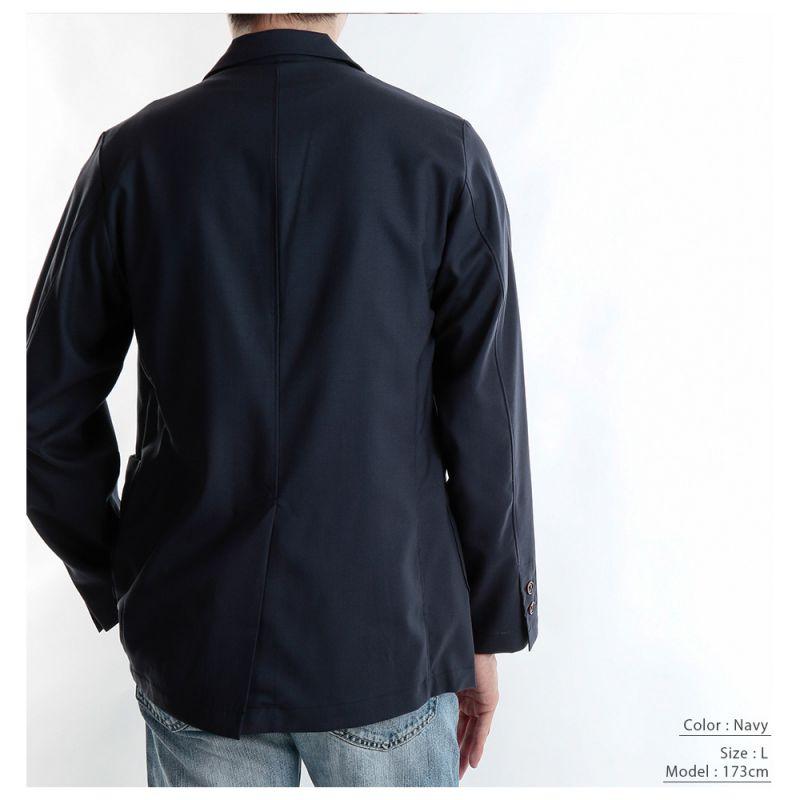 【hadae】 尾州ウール メンズ ジャケット ブルーシャンブレー シワになりにくい 肌にやさしい 洗える