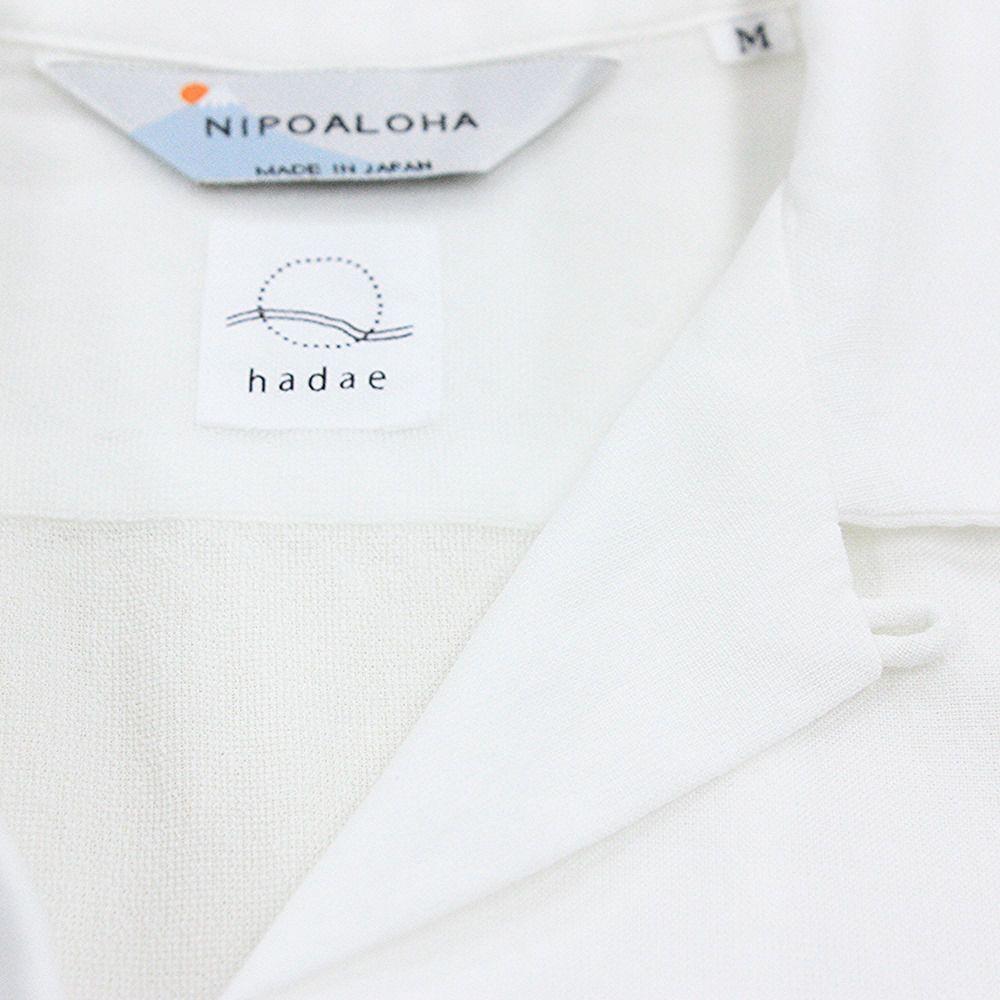 【hadae】《hadae x NIPOALOHA 》 今治タオル認定済 プレミアムパイル メンズ オープンシャツ 半袖 ホワイト アロハ