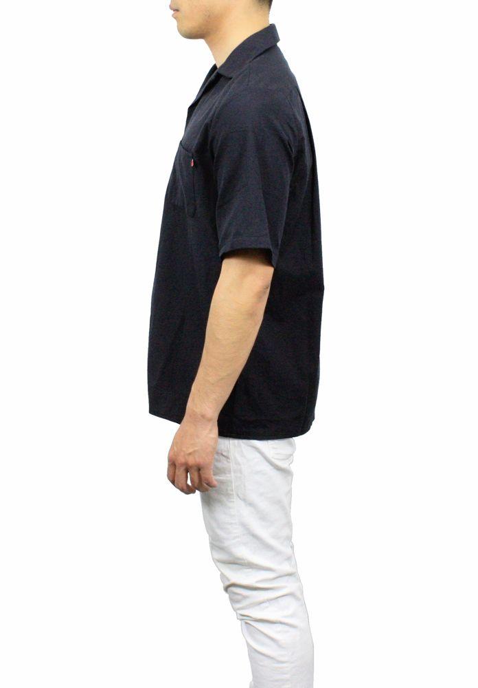 【hadae】《hadae x NIPOALOHA 》 今治タオル認定済 プレミアムパイル メンズ オープンシャツ 半袖 ブラック アロハ