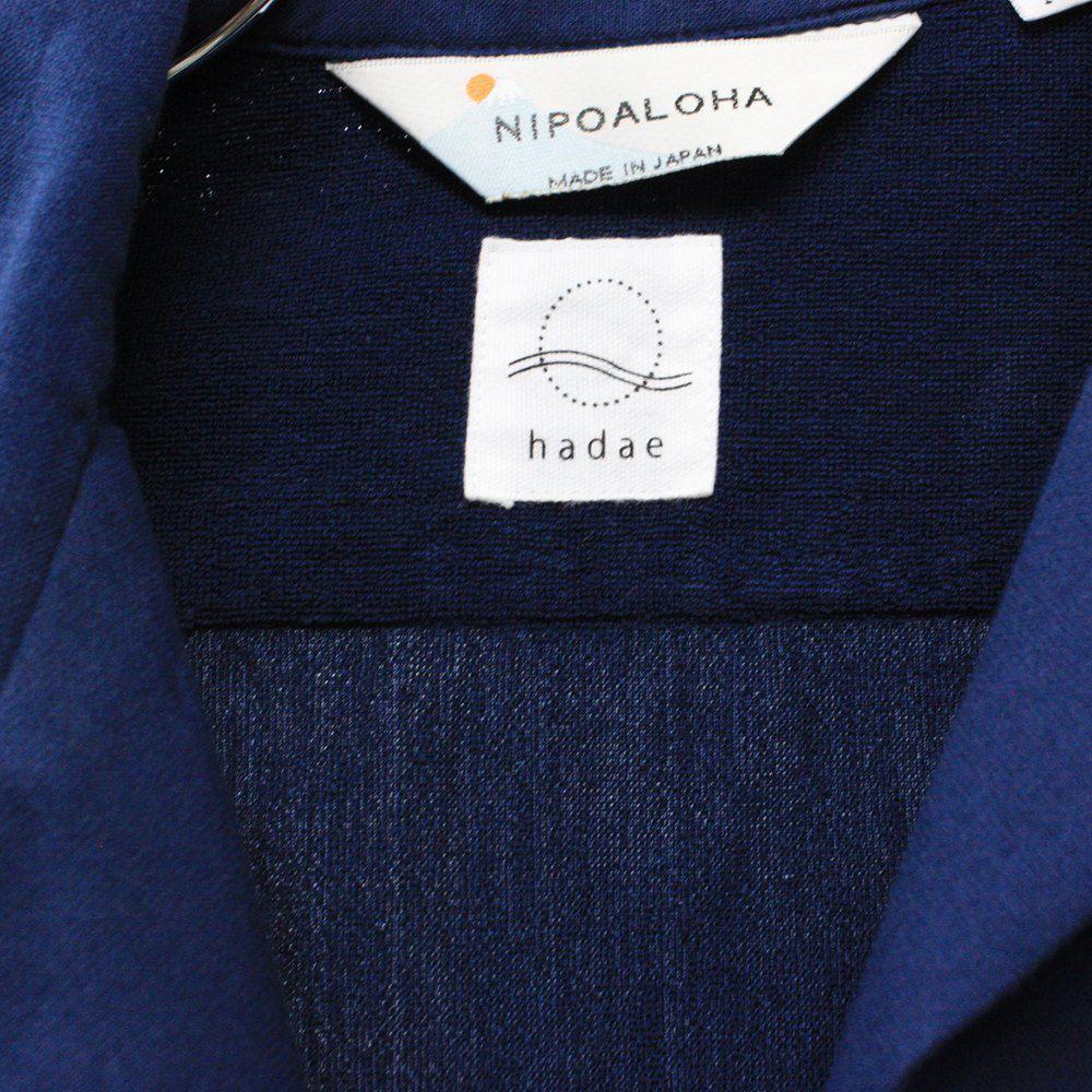 【hadae】《hadae x NIPOALOHA 》 今治タオル認定済 プレミアムパイル メンズ オープンシャツ 半袖 ネイビー アロハ