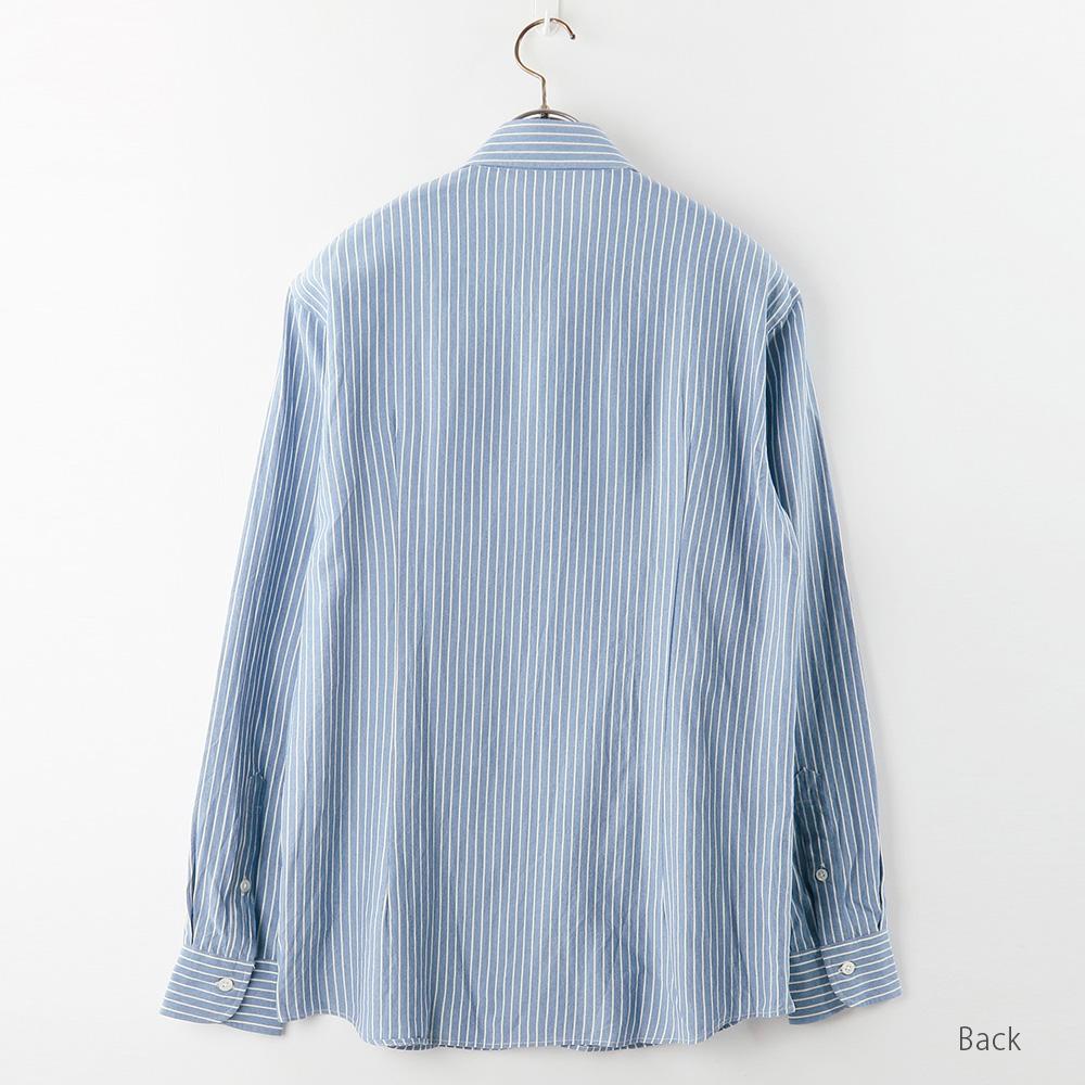 【hadae】 和紙素材 メンズ 超軽涼 カジュアルシャツ 長袖 ブルーストライプ カッタウェイ キュアテックスヤーン C91000MH-4
