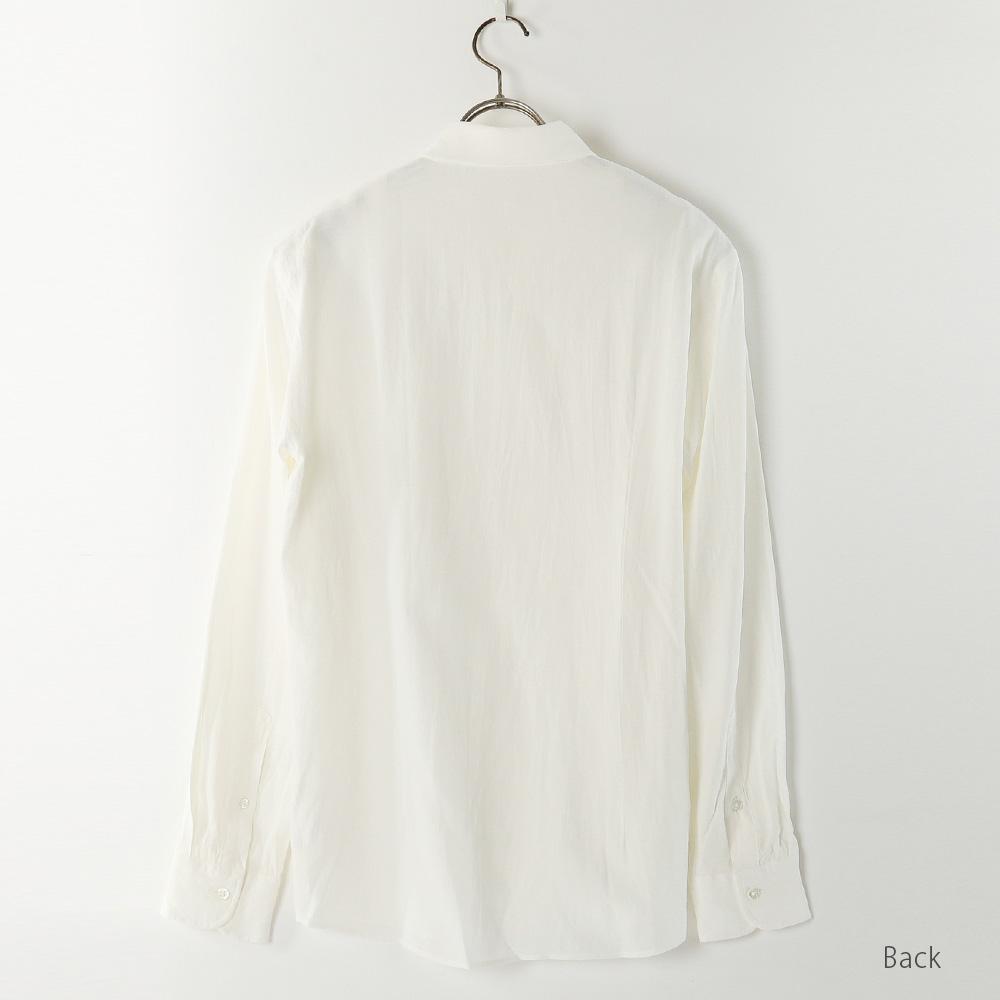 【hadae】 和紙素材 メンズ 超軽涼 カジュアルシャツ 長袖 ホワイト ボタンダウン キュアテックスヤーン C91000MH-1