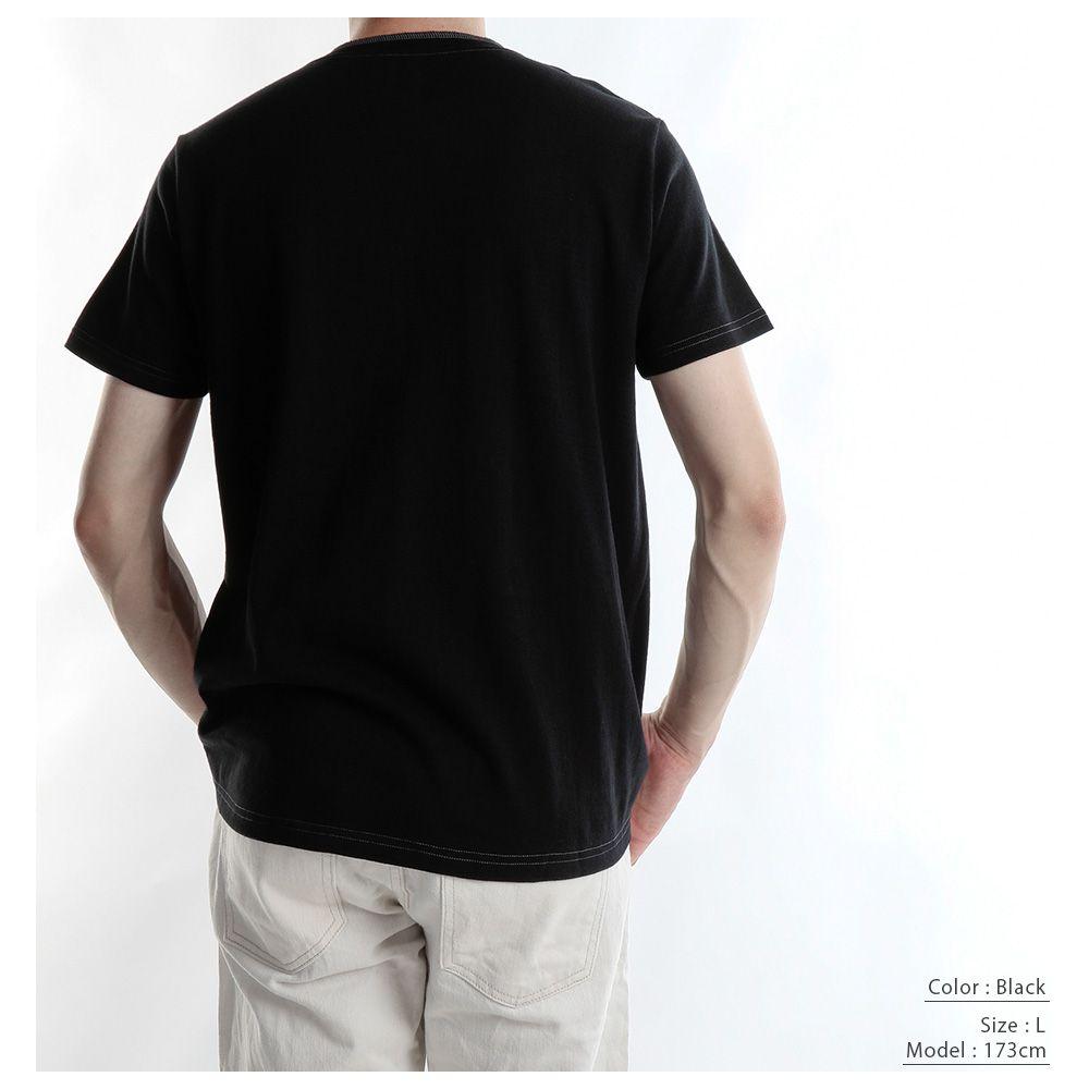 【hadae】 和紙綿混素材 メンズ Tシャツ 半袖 ホワイト ヘンリーネック 胸ポケット キュアテックスヤーン T92000MH-1